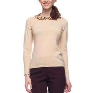 J. McLaughlin Cashmere Wool Sweater Leopard Collar